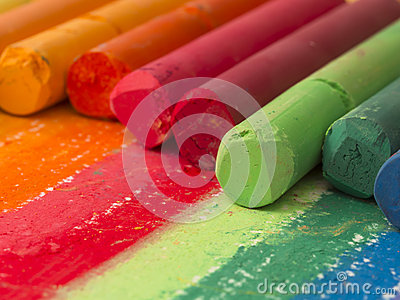 Spectrum of artistic crayons