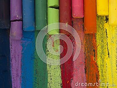 Spectrum of artistic crayons