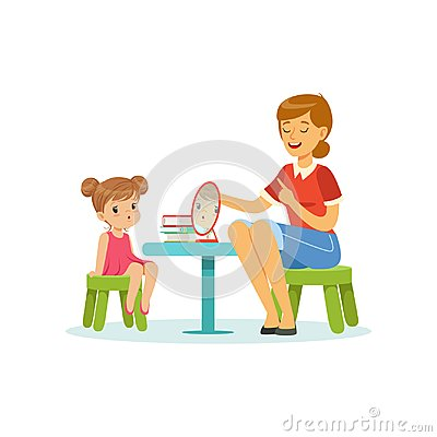 Free Speech And Language Specialist Teaching Little Girl Correct Pronunciation Of Letters. Child Speech Sound Development Stock Image - 104408301