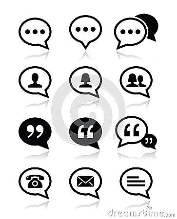 Speech bubble, blog, contact  icons set