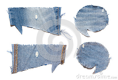 Speech bubble blue jeans texture