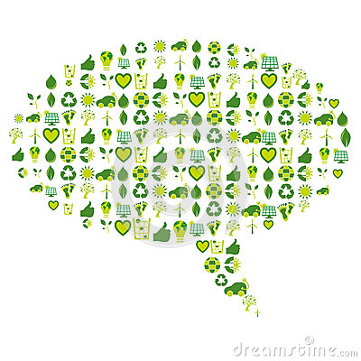 Speech bubble made of bio eco environmental related icons and symbols ...
