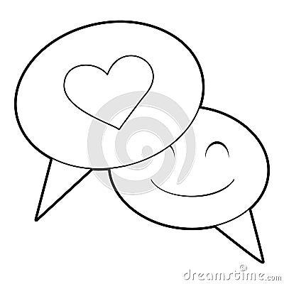Speech bubble heart icon, outline style Vector Illustration
