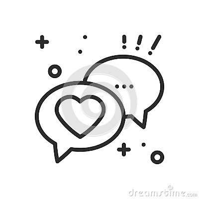 Speech bubble with heart line icon. Conversation chat dialog message. Happy Valentine day sign and symbol. Love couple Vector Illustration