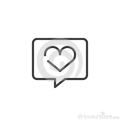 Speech bubble with heart with heart line icon Vector Illustration