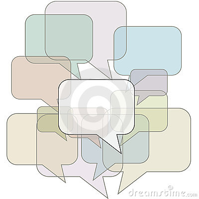 Speech bubble outlines in communication background