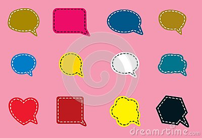 Speech bubble symbols in various shapes and colors