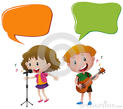 Free Speech Bubble Template With Kids Singing And Playing Guitar Royalty Free Stock Image - 81886186