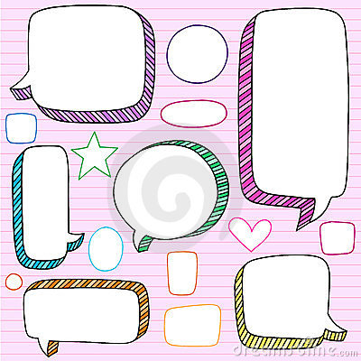 Speech Bubbles 3D Notebook Doodles Vector Set