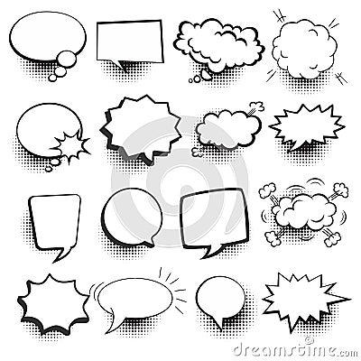 Speech bubbles Comic set Vector Illustration
