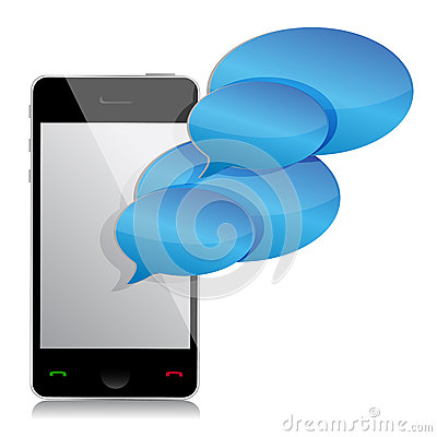Speech bubbles and mobile phone illustration