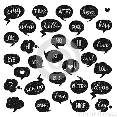 Free Speech Bubbles Set. Yes, Bye, Hi, Like, Love, Kiss, Best, No, Thnks, Hmm, Cool, Cheers, Ok, Dope, Omg. Stock Photography - 96039142
