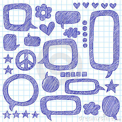 Speech Bubbles Sketchy Notebook Doodles Vector