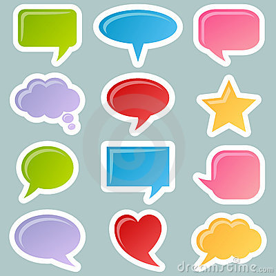 Speech Bubbles Stickers Set