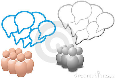 Speech bubbles symbol people talk social media