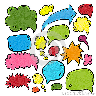 Free Speech Or Thought Bubbles Of Different Shapes And Sizes. Hand Drawn Cartoon Doodle Vector Illustration Stock Photography - 86071812