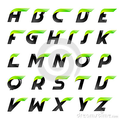 Speed alphabet black and green letters creative Vector Illustration