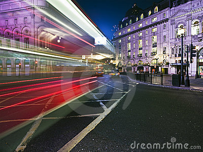 Speed blur of London bus