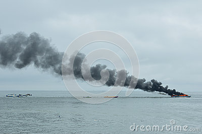 Speed boat on fire in Tarakan, Indonesia Editorial Image