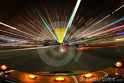 Speed Driving in Los Angeles With Bright City Ligh