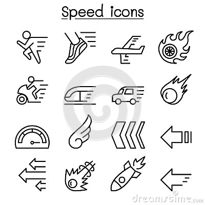 Free Speed Icon Set In Thin Line Style Stock Photography - 118579042