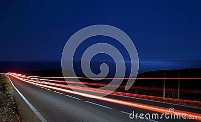 Speed light tracks near the sea