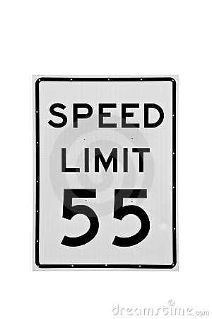 speed limit 55 mph isolated