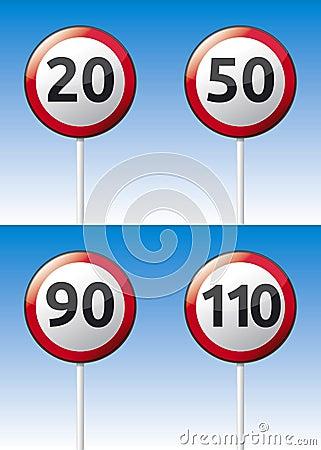 Speed limit traffic road board