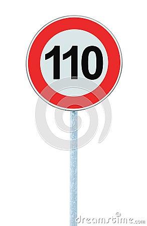 Free Speed Limit Zone Warning Road Sign, Isolated Prohibitive 110 Km Kilometre Kilometer Maximum Traffic Limitation Order, Red Circle Stock Photo - 83970040