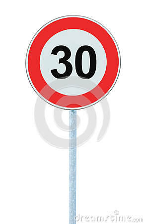 Free Speed Limit Zone Warning Road Sign, Isolated Prohibitive 30 Km Royalty Free Stock Photos - 90462738
