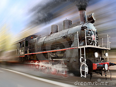 Speed steam engine, locomotive, train, motion blur
