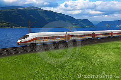 Speed train passing by the mountains