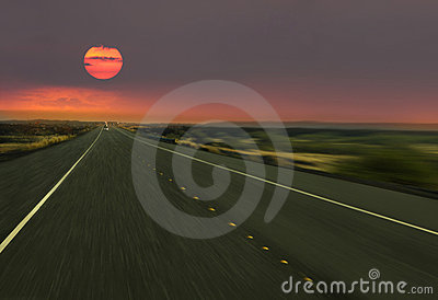 speed way in sun set