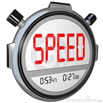 Speed Word on Stopwatch Timer Records Race Time