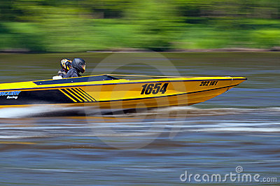 Speedboat in Action Editorial Stock Image