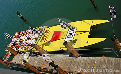 Speedboat providing thrill rides to tourists Editorial Stock Photo