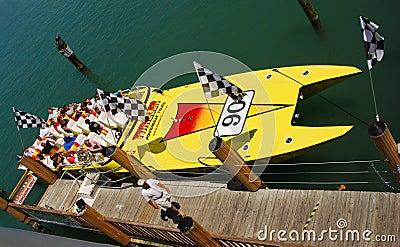 Speedboat providing thrill rides to tourists Editorial Stock Photo
