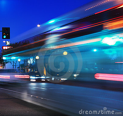 Speeding bus, blurred motion