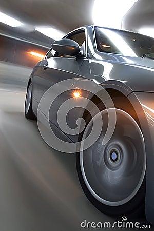 Speeding car with ligh trails