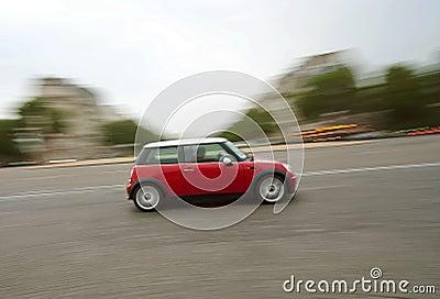 Speeding car (Mini Cooper)