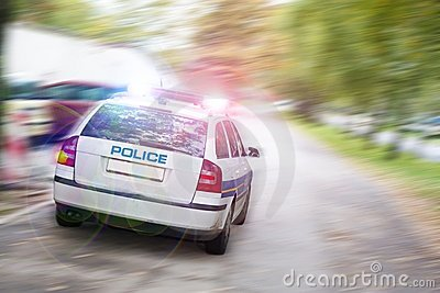 Speeding police car