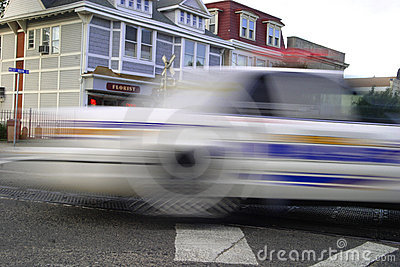 SPEEDING POLICE CAR. MOTION BLUR