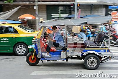 Speeding Tuk Tuk in Bangkok Editorial Photo