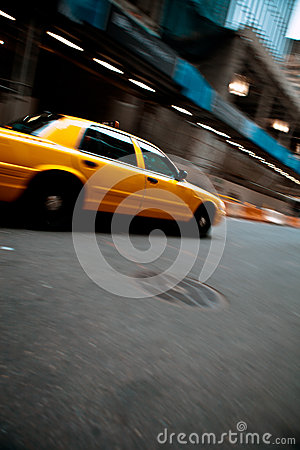 Speeding Yellow City Taxi Cab