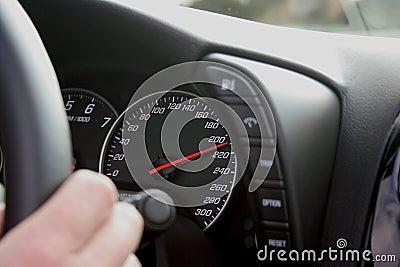 Speedometer at 210 km/h