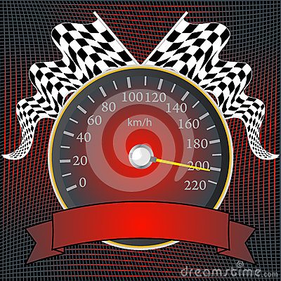 Speedometer with checkered flags and banner