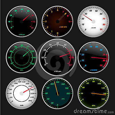 Speedometer and RPM gauges