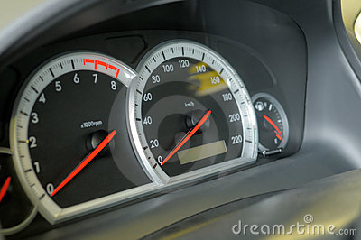 Speedometer, tachometre and fuel level.