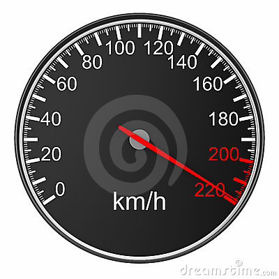 Speedometer on white background. Isolated 3D image Stock Photo