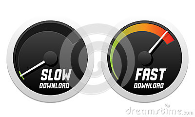 Speedometers with slow and fast download
